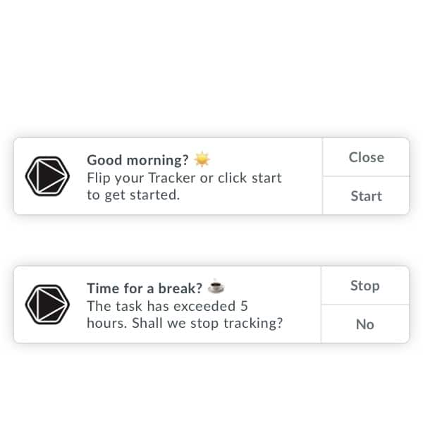 Timeular tracking reminders in the morning and when it is time for a break